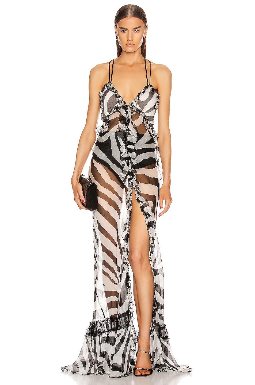 Image 1 of Redemption Long Dress in Zebra Black & White