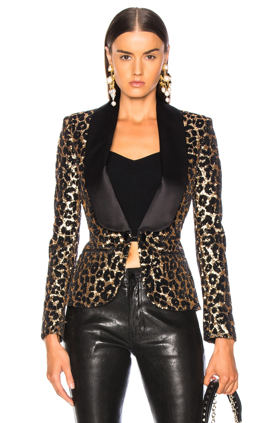 Image 1 of Redemption Printed Leopard Blazer in Gold