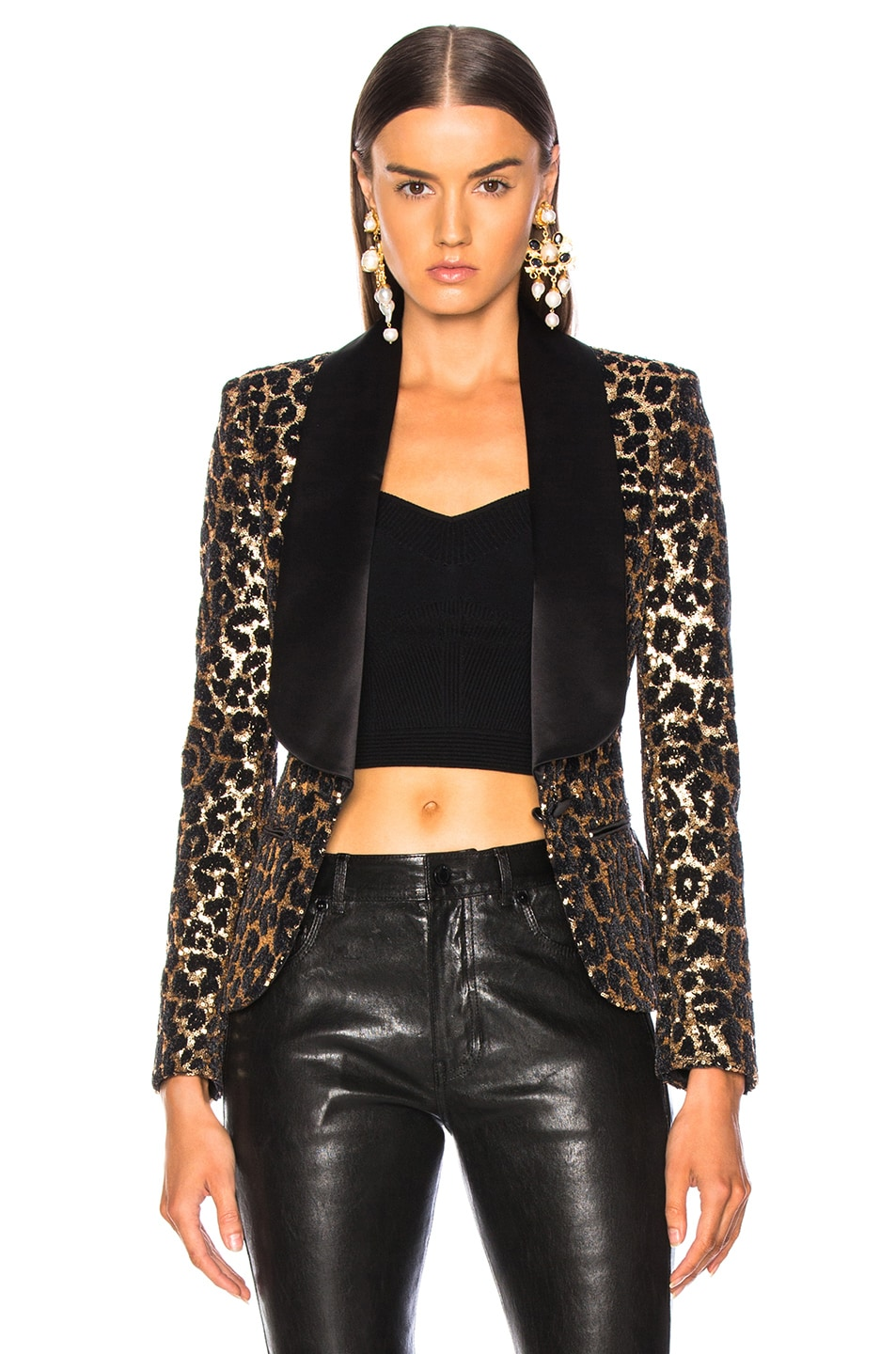 Image 2 of Redemption Printed Leopard Blazer in Gold