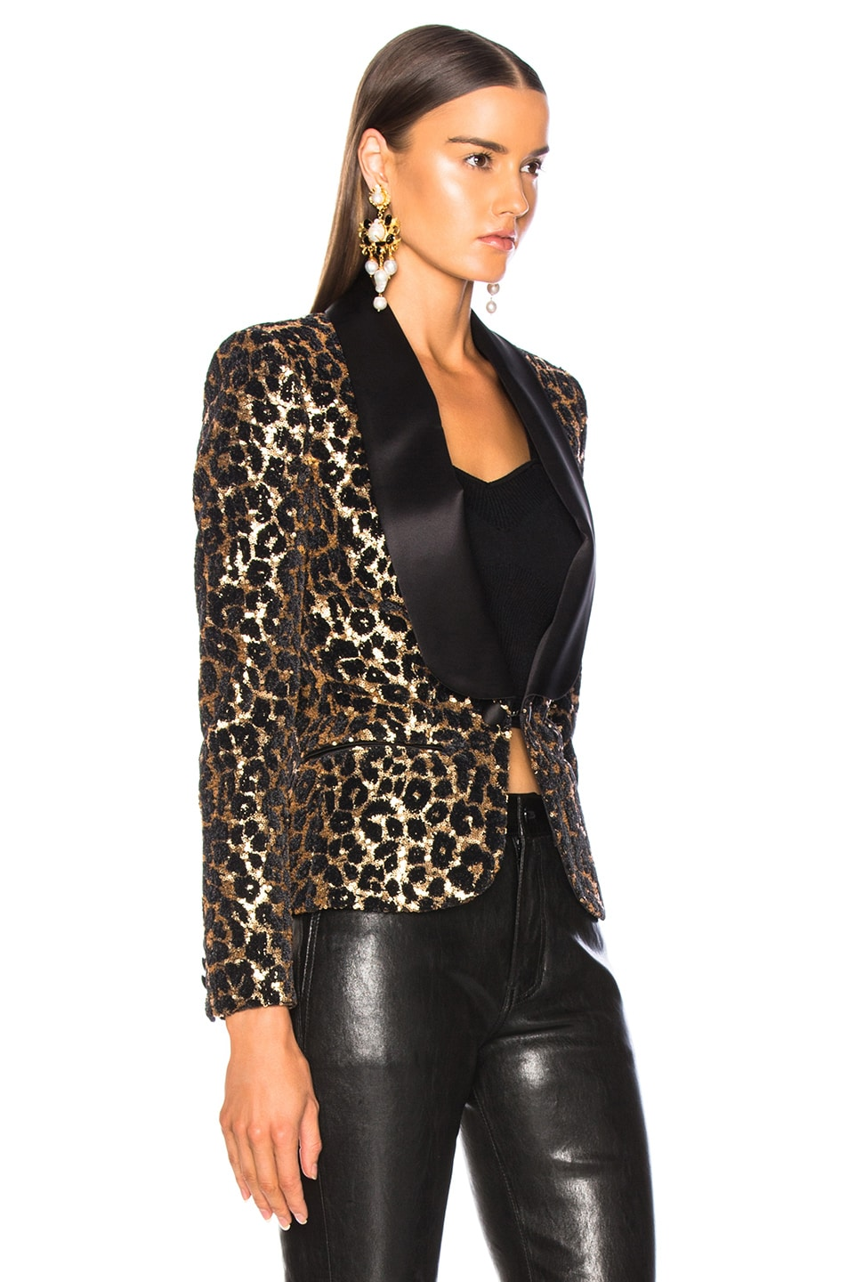 Image 3 of Redemption Printed Leopard Blazer in Gold