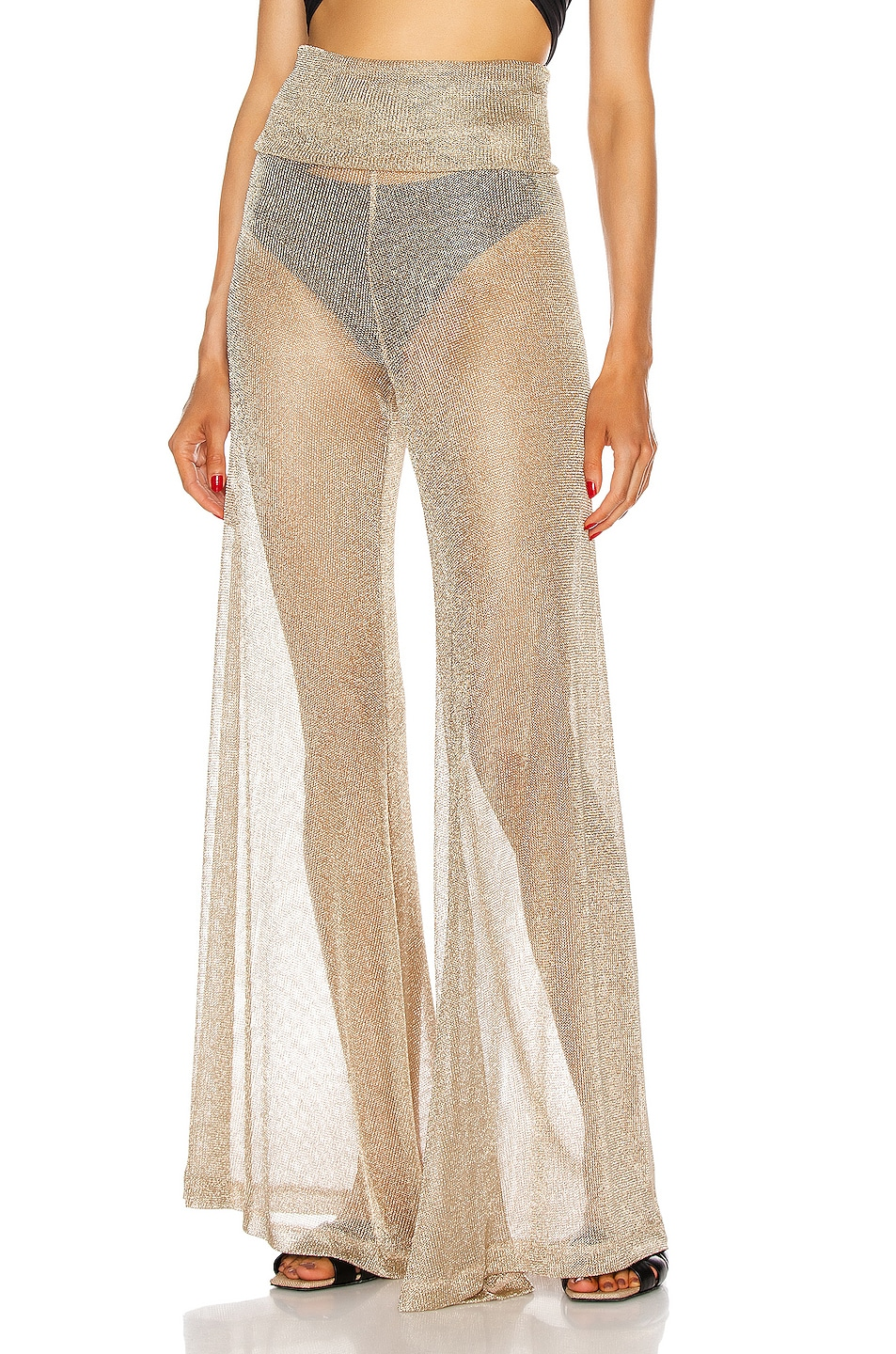 Image 1 of Redemption Net Draped Waist Pants in Gold