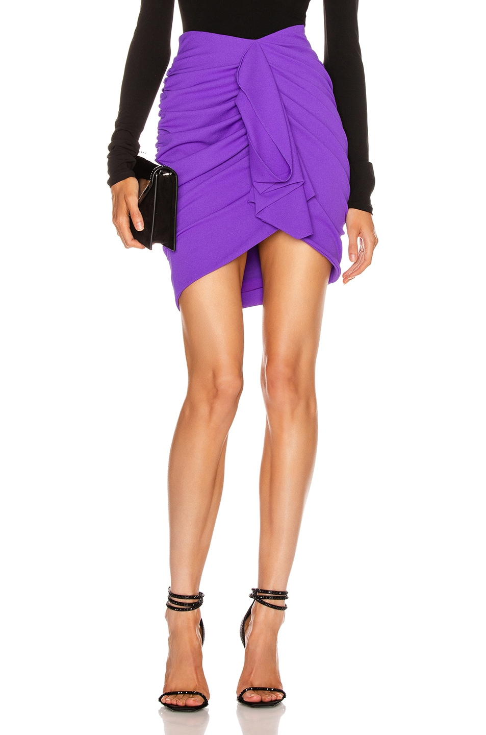 Image 1 of Redemption Draped Crepe Mini Skirt in Purple