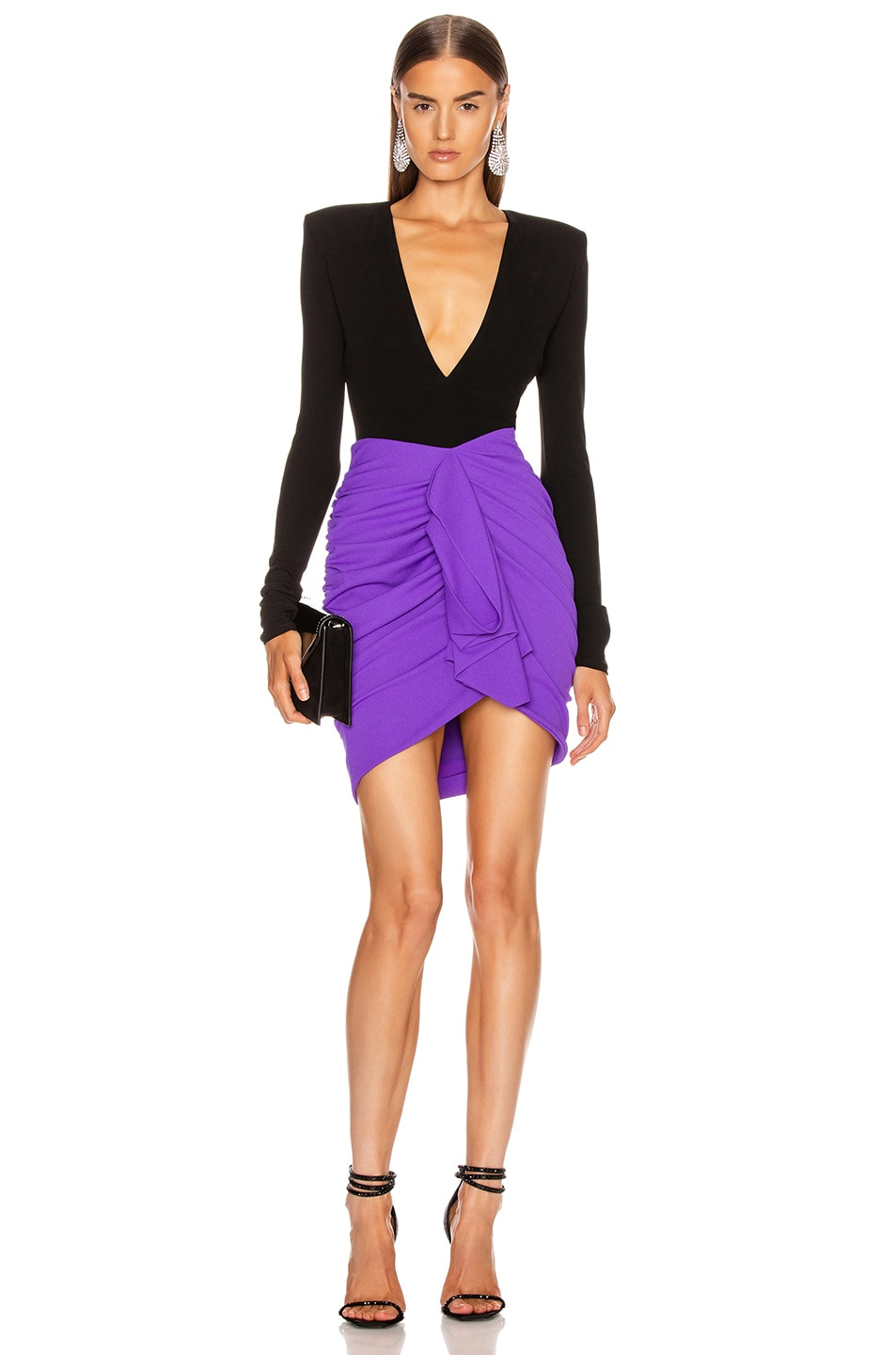 Image 4 of Redemption Draped Crepe Mini Skirt in Purple