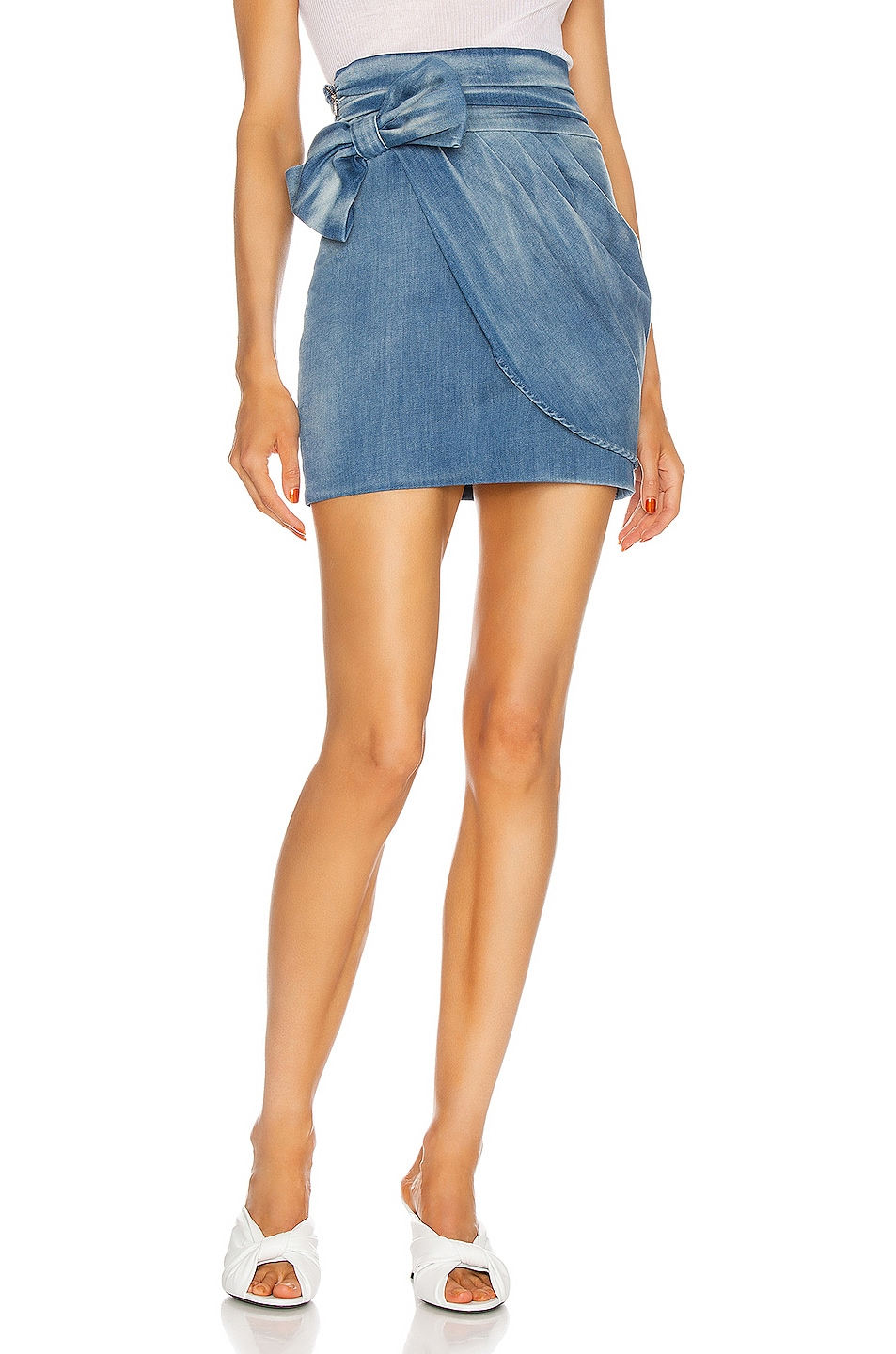Image 1 of Redemption Drape and Bow Mini Skirt in Shaded Blue