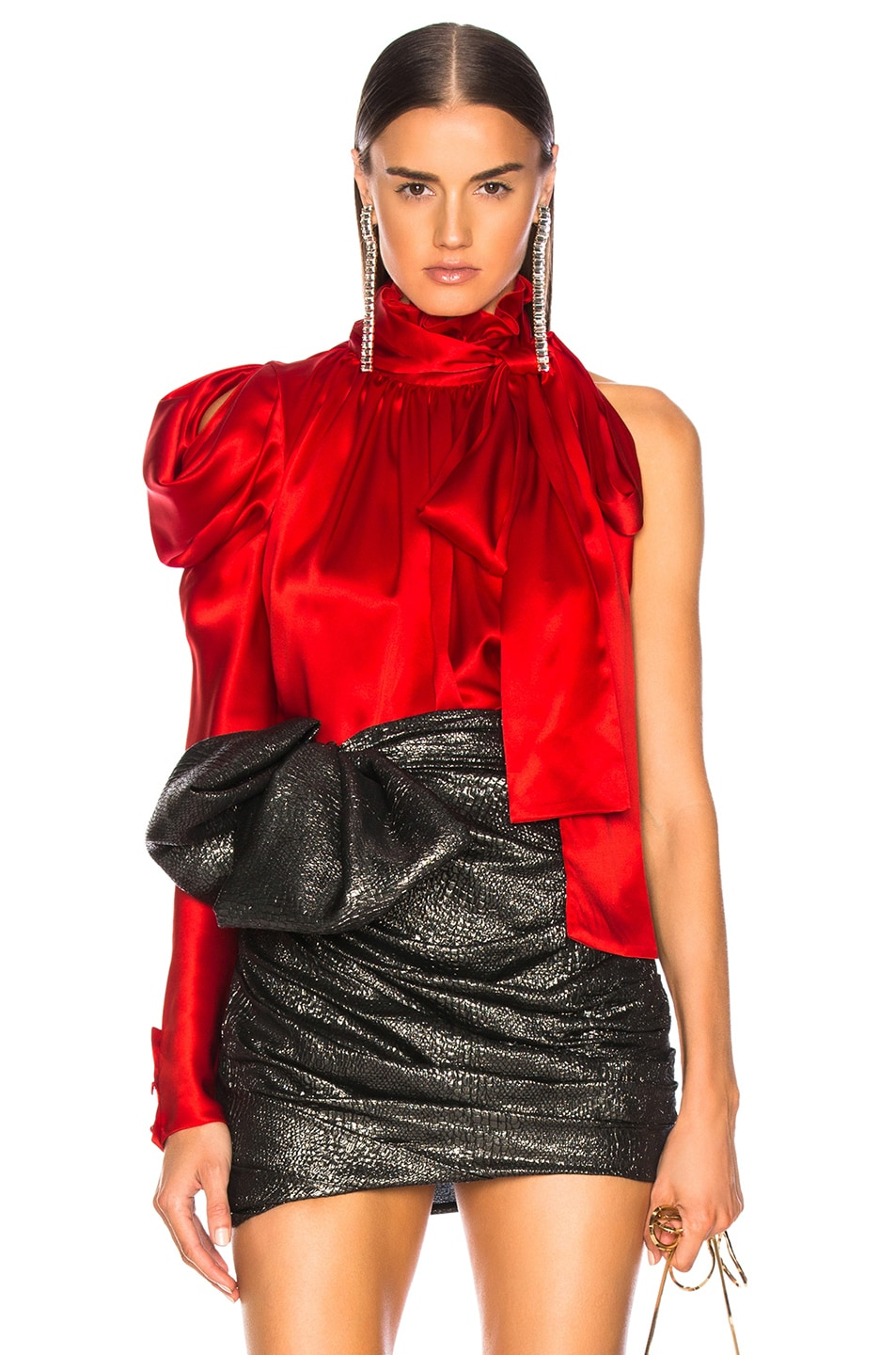 Image 1 of Redemption for FWRD One Shoulder Top in Red Satin
