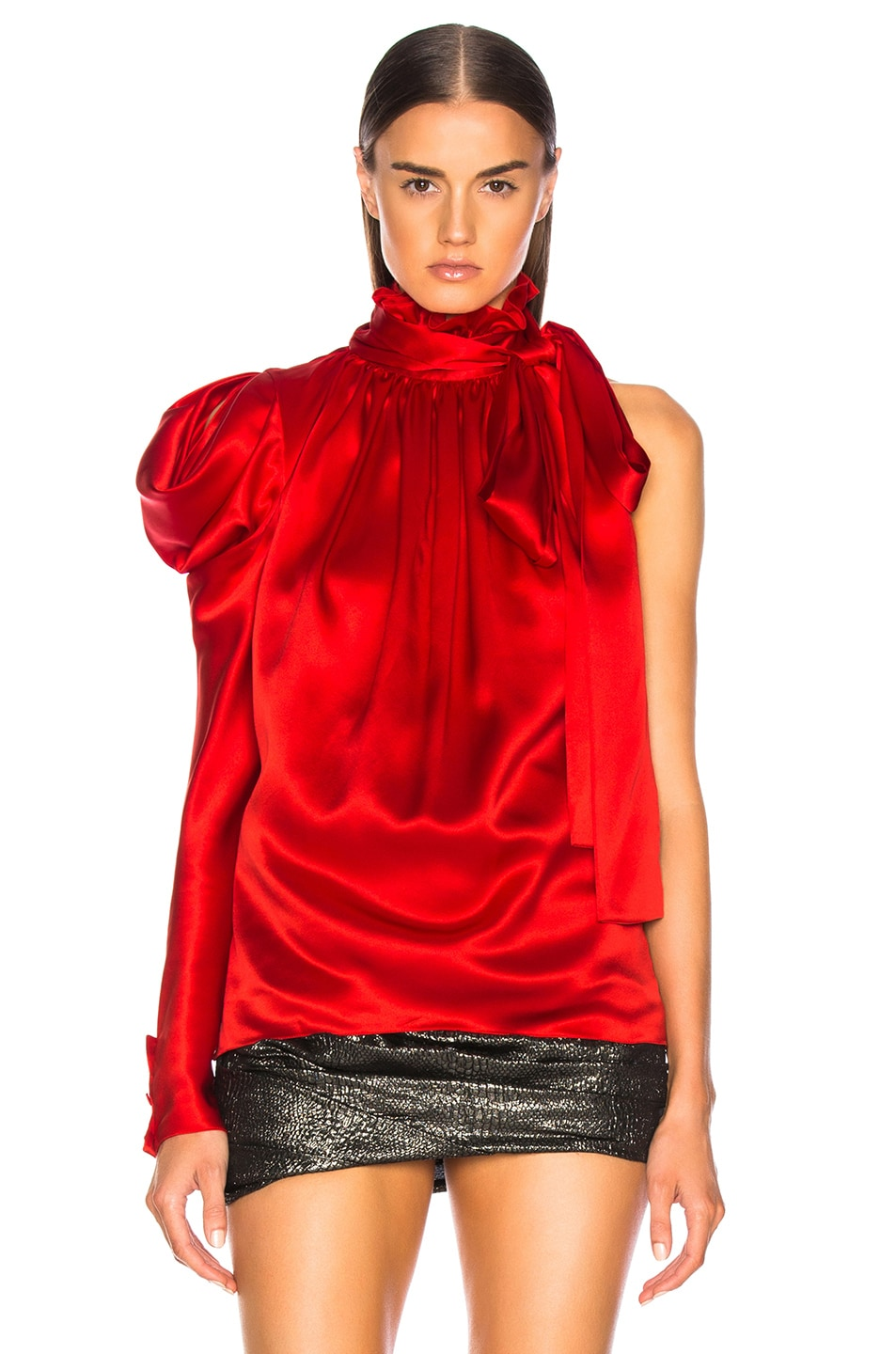 Image 2 of Redemption for FWRD One Shoulder Top in Red Satin