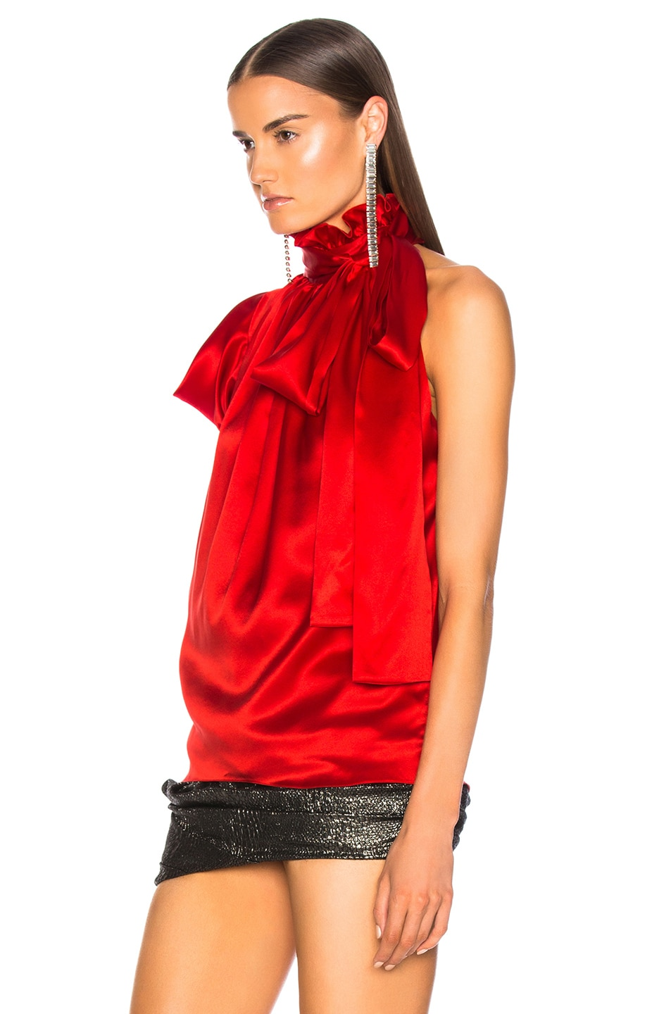 Image 4 of Redemption for FWRD One Shoulder Top in Red Satin