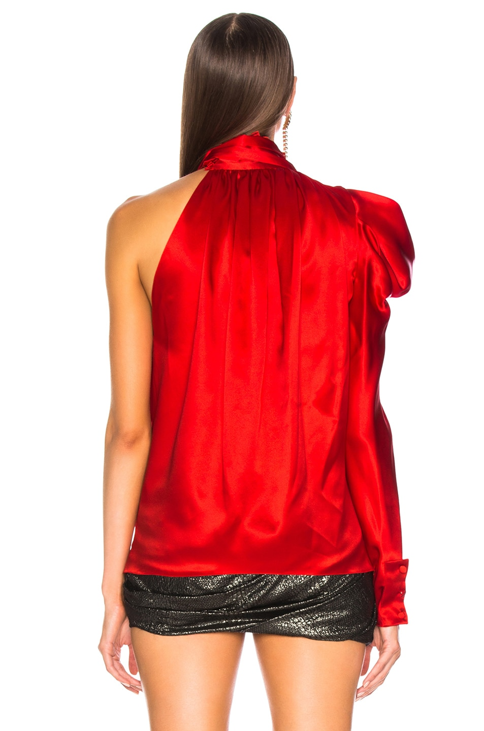 Image 5 of Redemption for FWRD One Shoulder Top in Red Satin