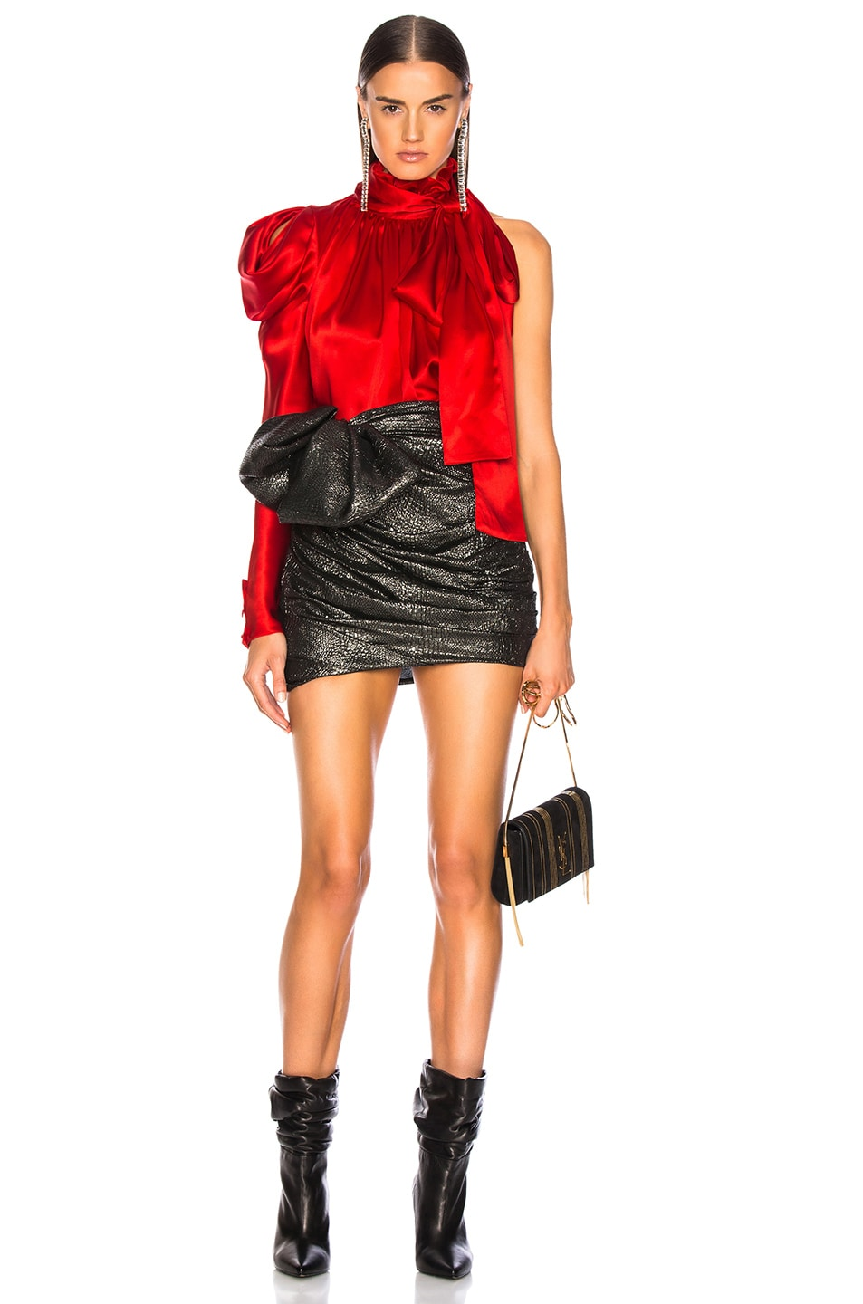 Image 6 of Redemption for FWRD One Shoulder Top in Red Satin