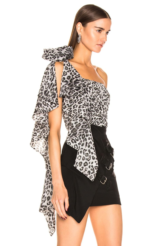 Image 2 of Redemption One Shoulder Leo Ruched Top in Grey Leopard Print