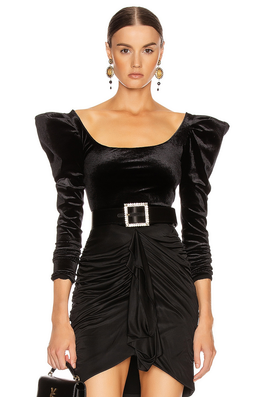 Image 1 of Redemption Velvet Balloon Sleeve Top in Black