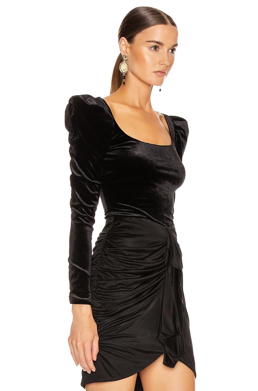 Image 2 of Redemption Velvet Balloon Sleeve Top in Black