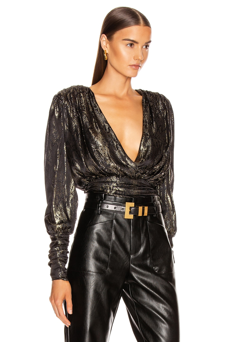 Image 3 of Redemption Gold Python Draped Blouse in Gold