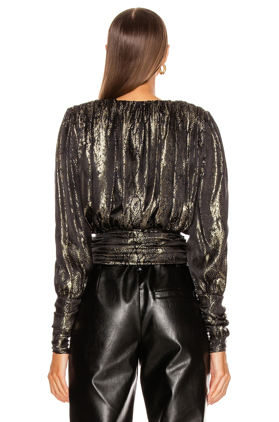 Image 4 of Redemption Gold Python Draped Blouse in Gold