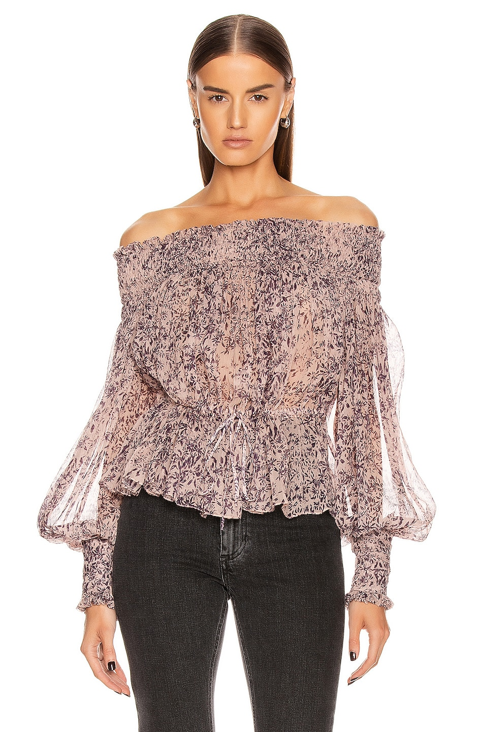 Image 1 of Redemption Pintuck Bare Shoulder Top in Campione