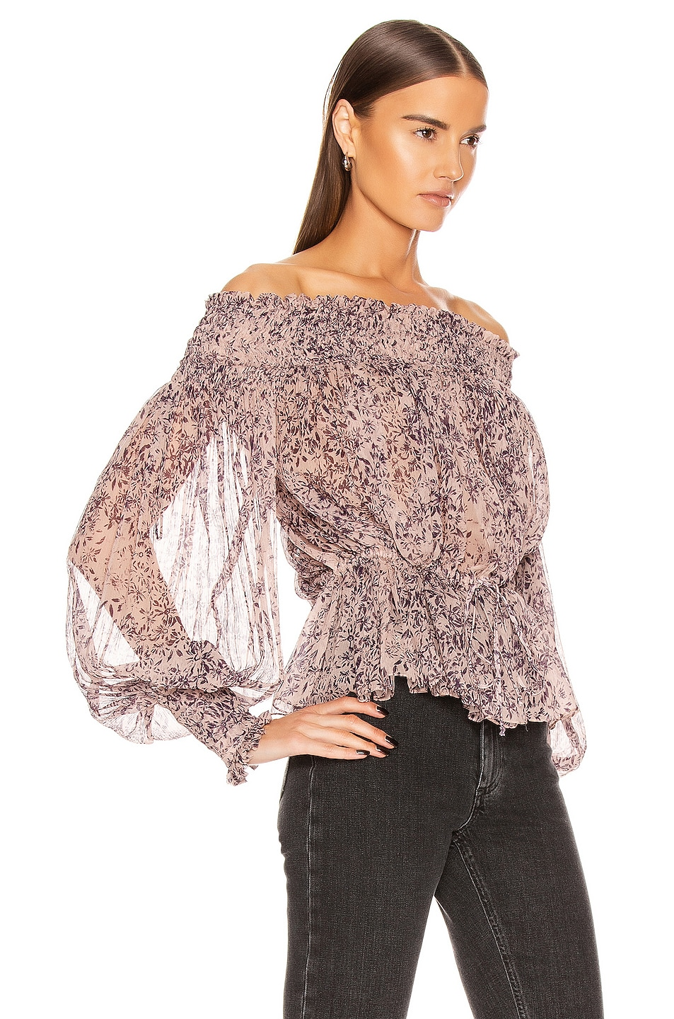 Image 2 of Redemption Pintuck Bare Shoulder Top in Campione