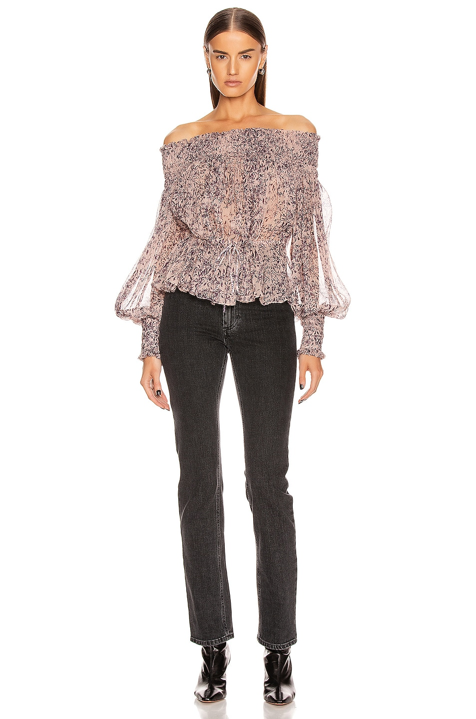 Image 4 of Redemption Pintuck Bare Shoulder Top in Campione
