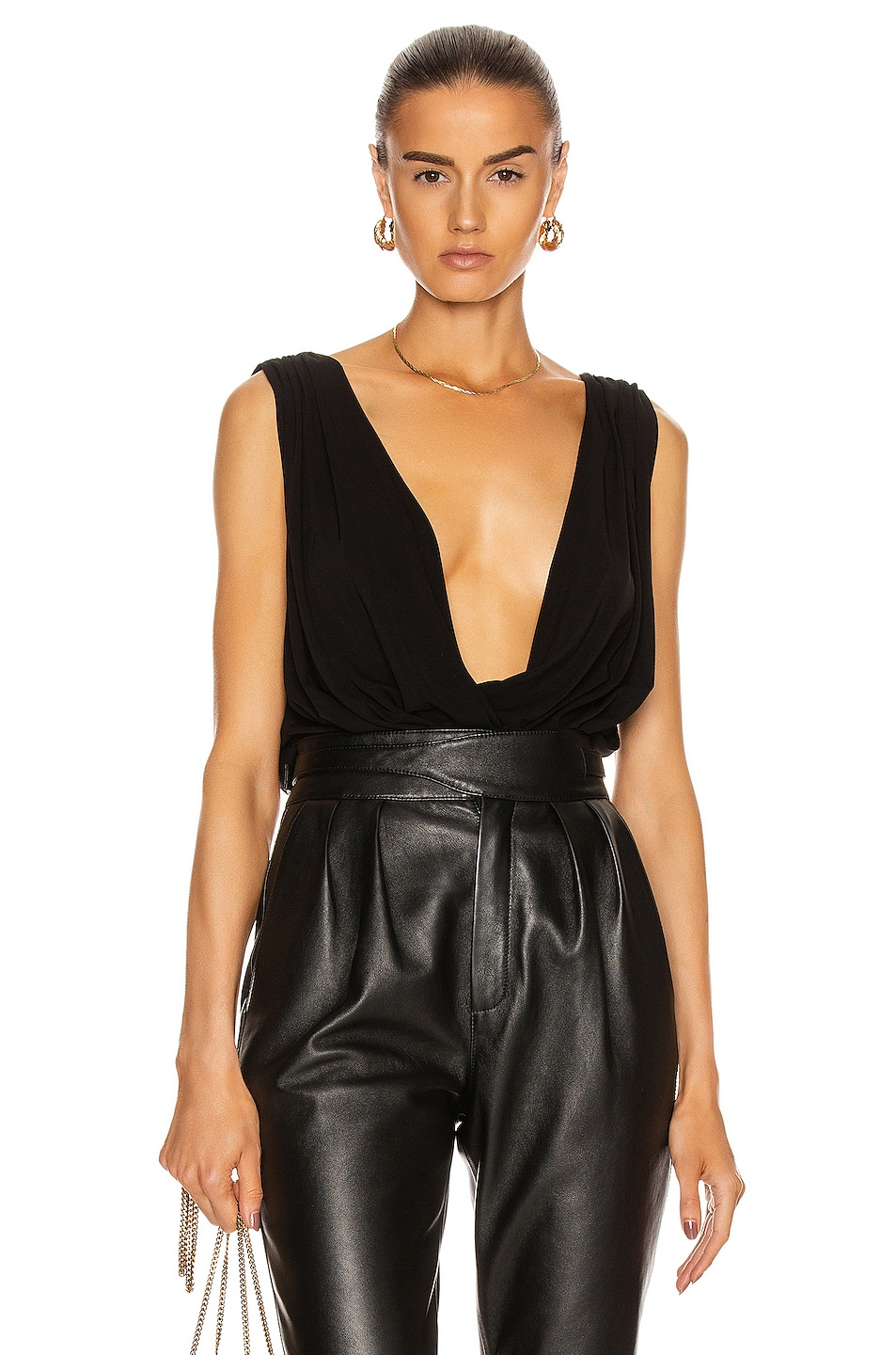 Image 1 of Redemption Jersey Wide Draped Top in Black
