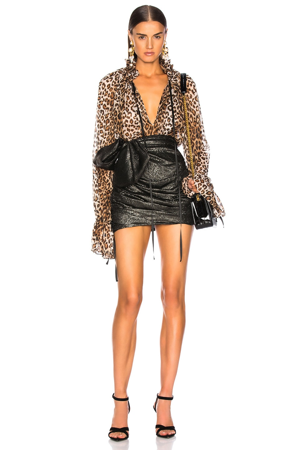 Image 1 of Redemption for FWRD Long Sleeve Blouse in Leopard