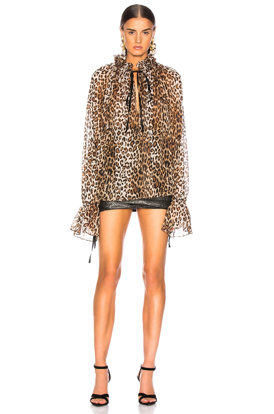 Image 2 of Redemption for FWRD Long Sleeve Blouse in Leopard