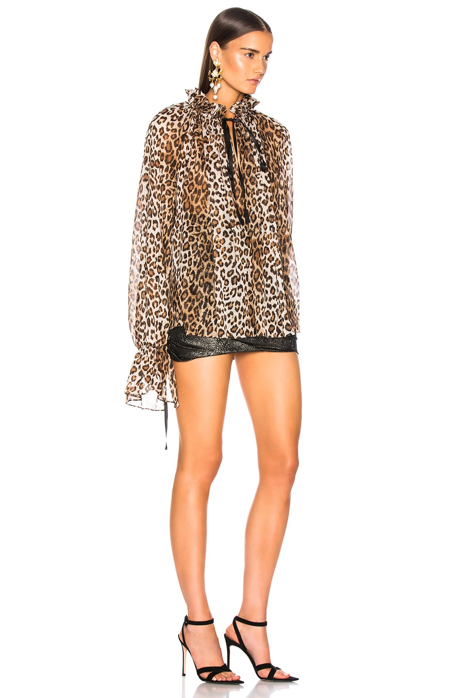 Image 3 of Redemption for FWRD Long Sleeve Blouse in Leopard