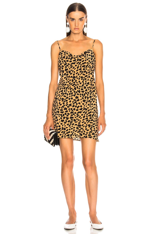 Image 2 of RIXO Twiggy Mini Dress in Spot Leopard