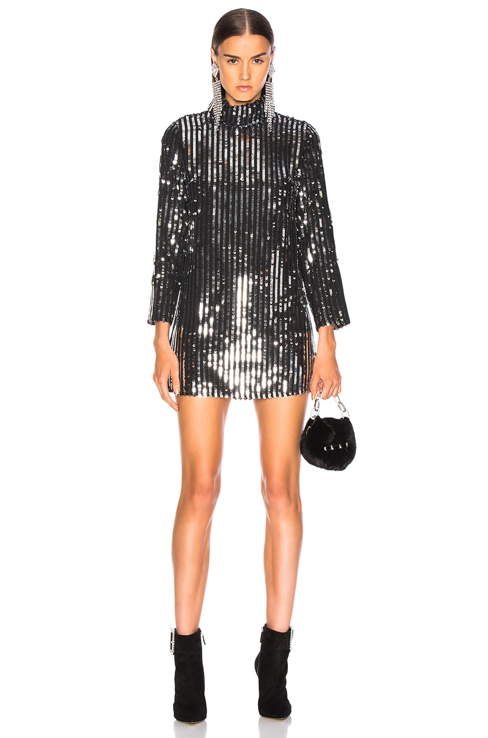 Image 1 of RIXO Bardot Dress in Line Sequin