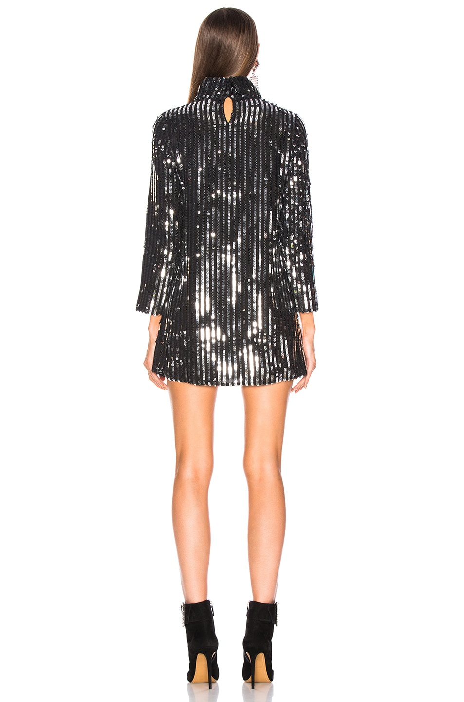Image 3 of RIXO Bardot Dress in Line Sequin