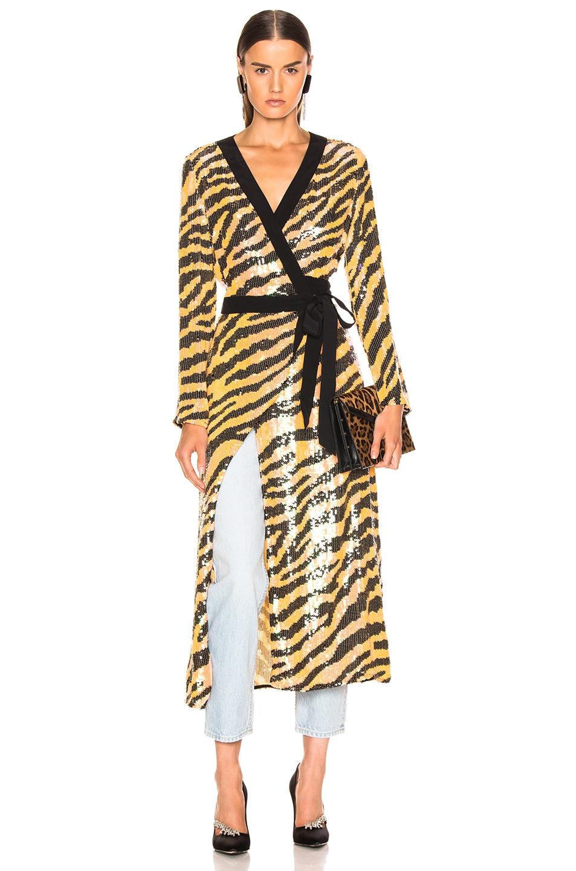 Image 1 of RIXO Gigi Sequin Dress in Mustard Tiger