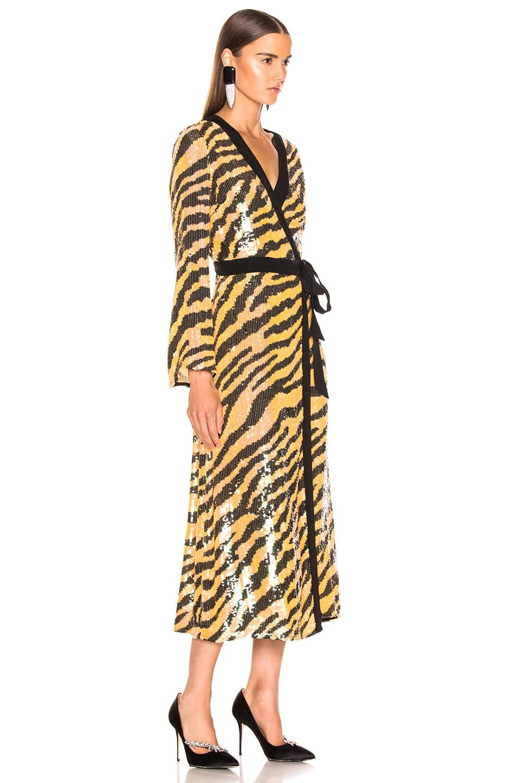 Image 3 of RIXO Gigi Sequin Dress in Mustard Tiger