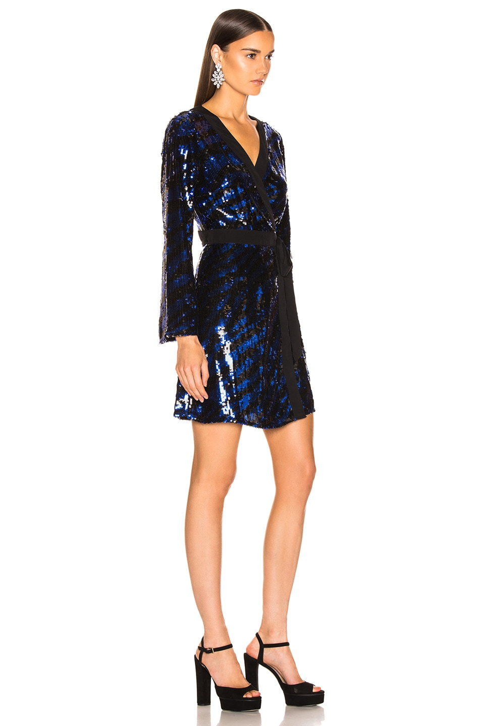Image 2 of RIXO Maria Sequin Dress in Blue Tiger