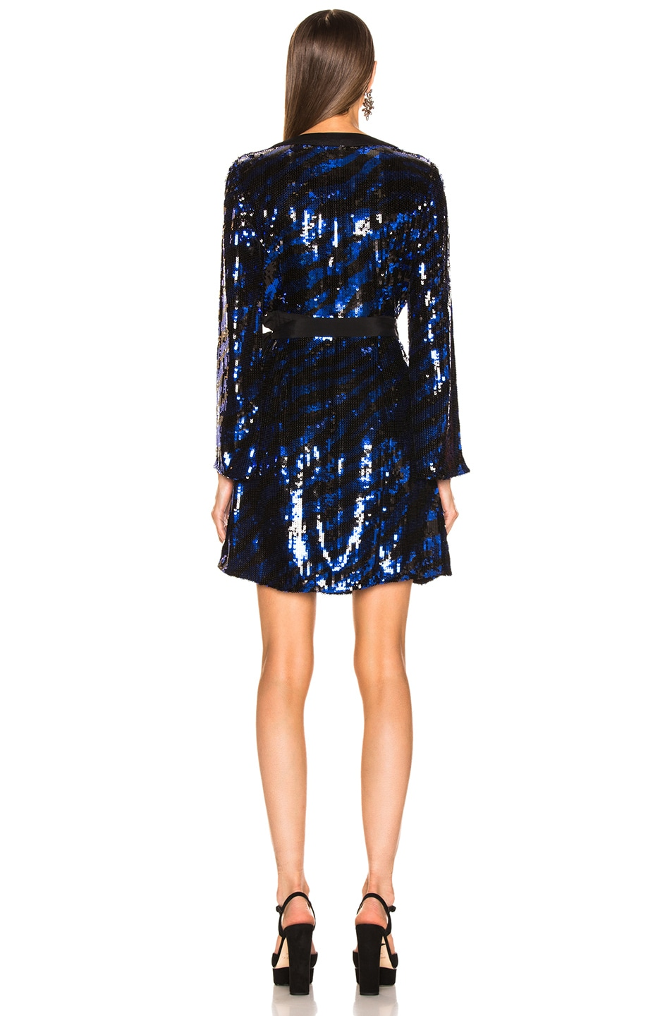Image 4 of RIXO Maria Sequin Dress in Blue Tiger