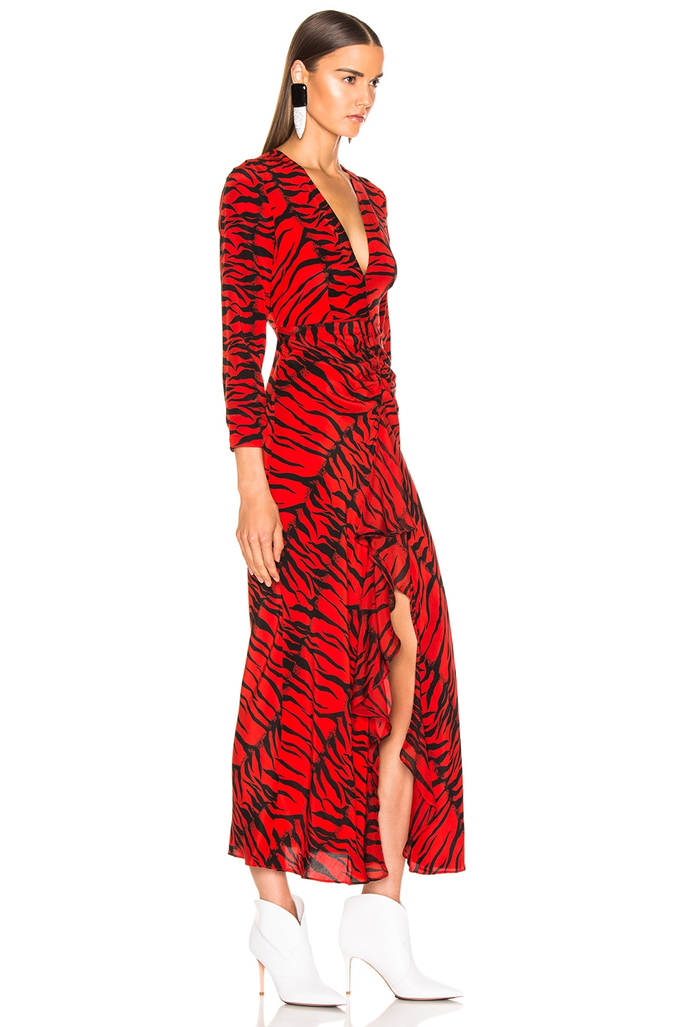 Image 2 of RIXO Rose Dress in Red Tiger
