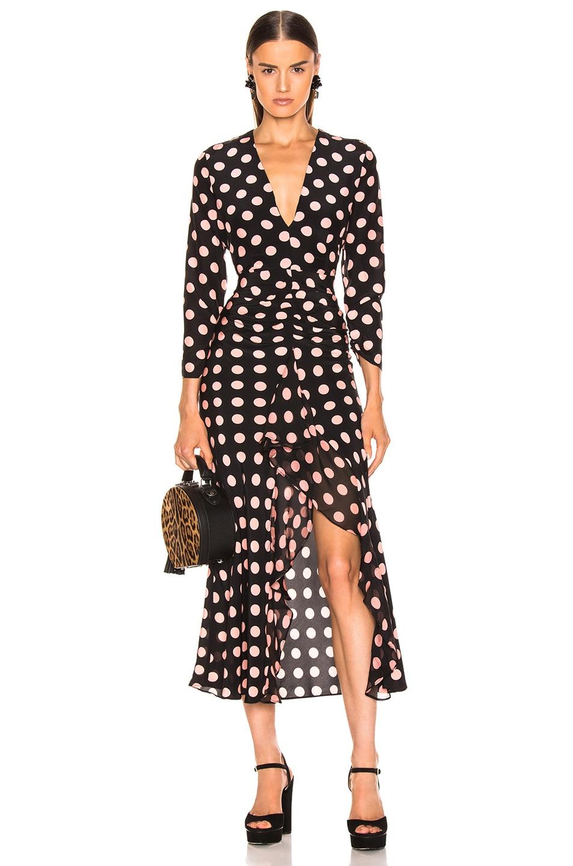 Image 1 of RIXO Rose Maxi Spot Dress in Peach & Black