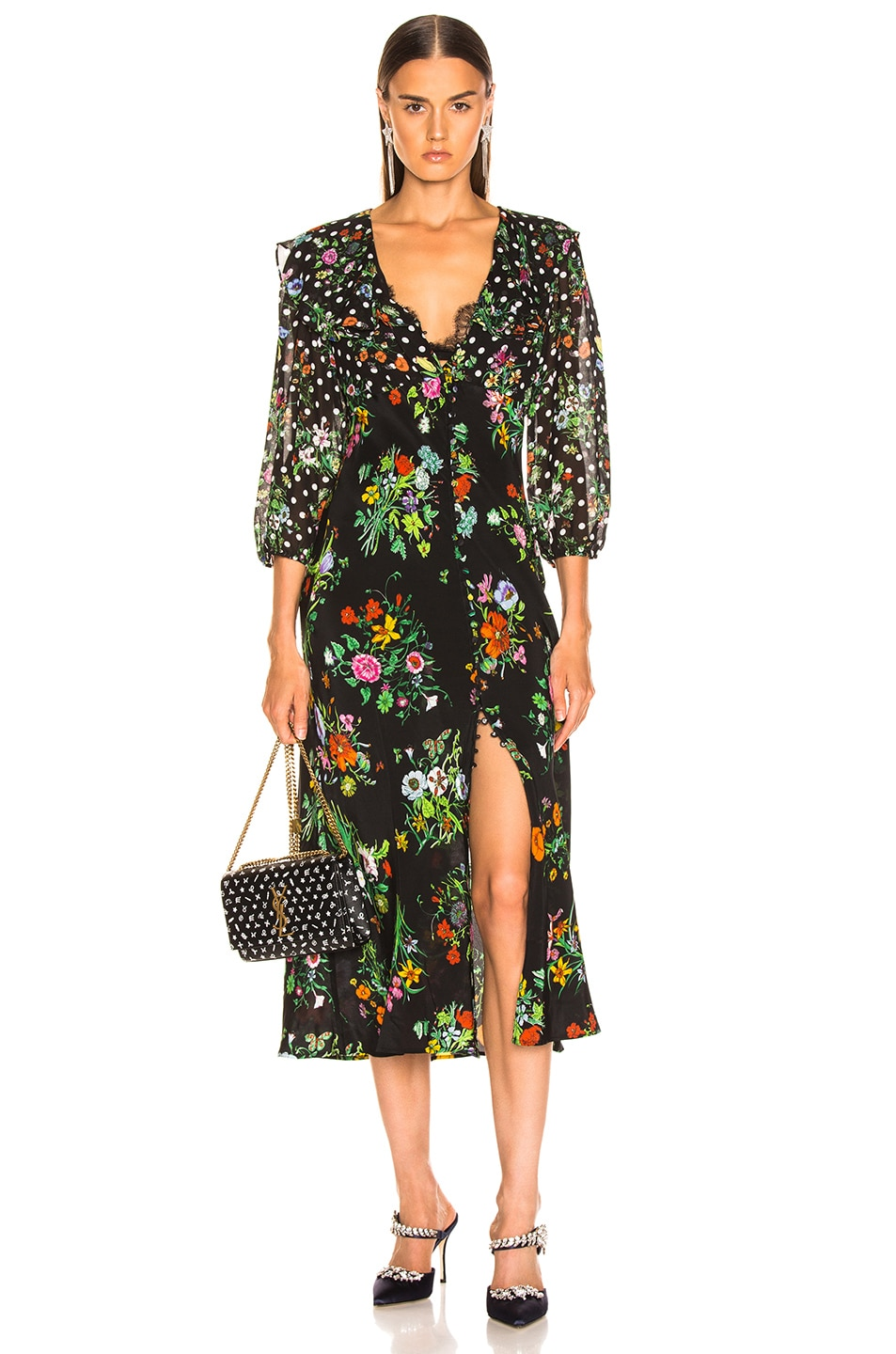 Image 1 of RIXO Bonnie Dress in Floral Spot Mono