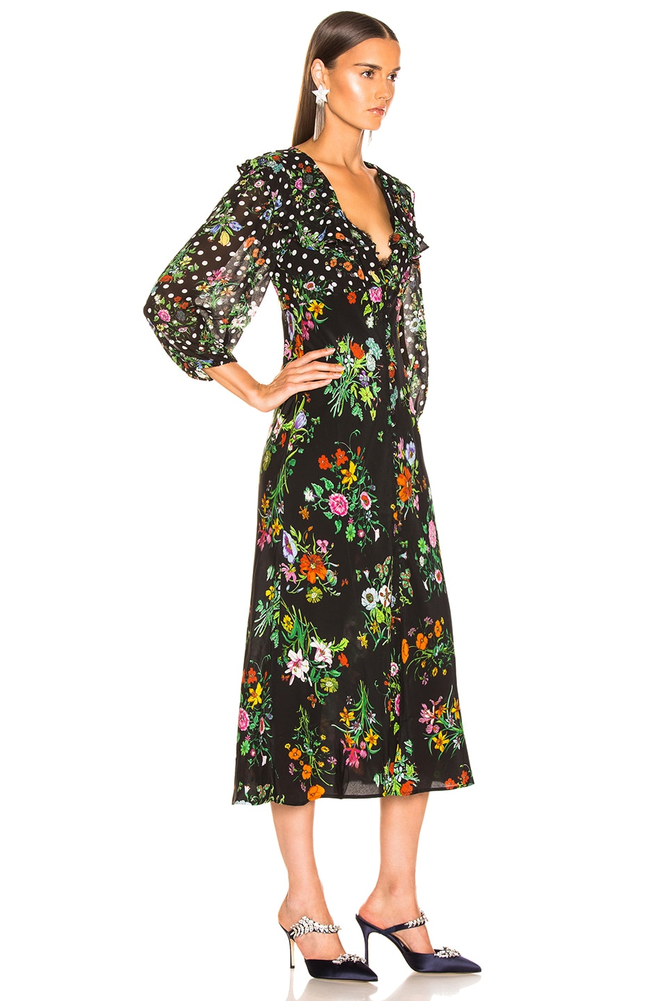 Image 2 of RIXO Bonnie Dress in Floral Spot Mono