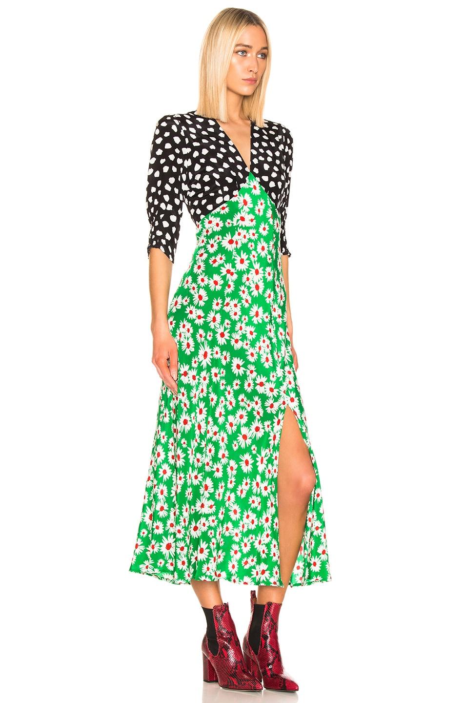 Image 2 of RIXO Martha Dress in Spot Green Red Daisy