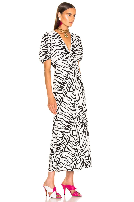 Image 2 of RIXO Tonya Dress in White Black Tiger