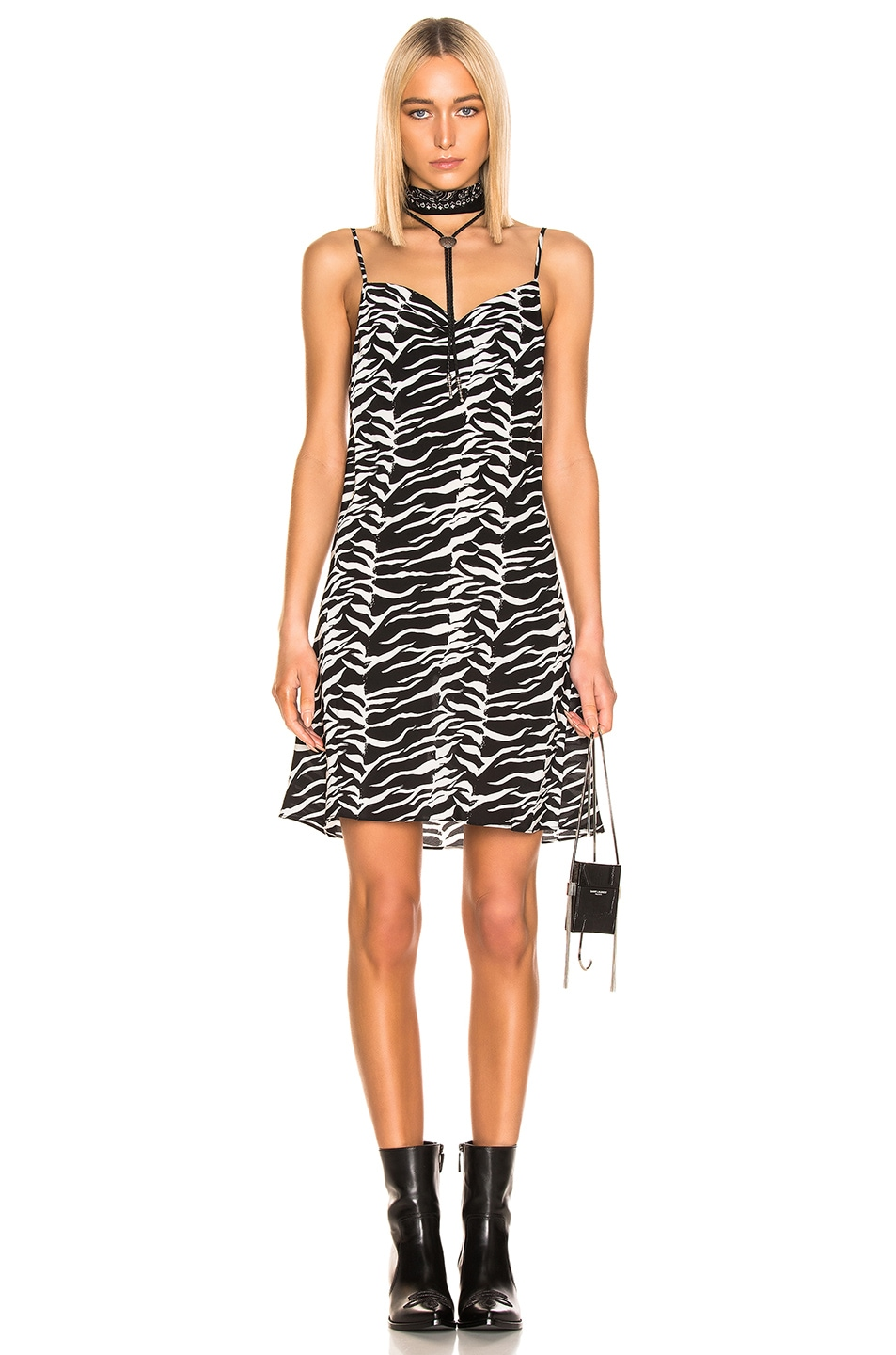 Image 1 of RIXO Twiggy Dress in Black White Tiger