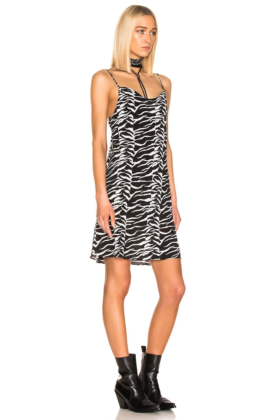 Image 2 of RIXO Twiggy Dress in Black White Tiger