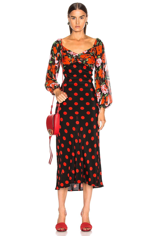 Image 1 of RIXO Josephine Dress in Large Rose Polka Dot