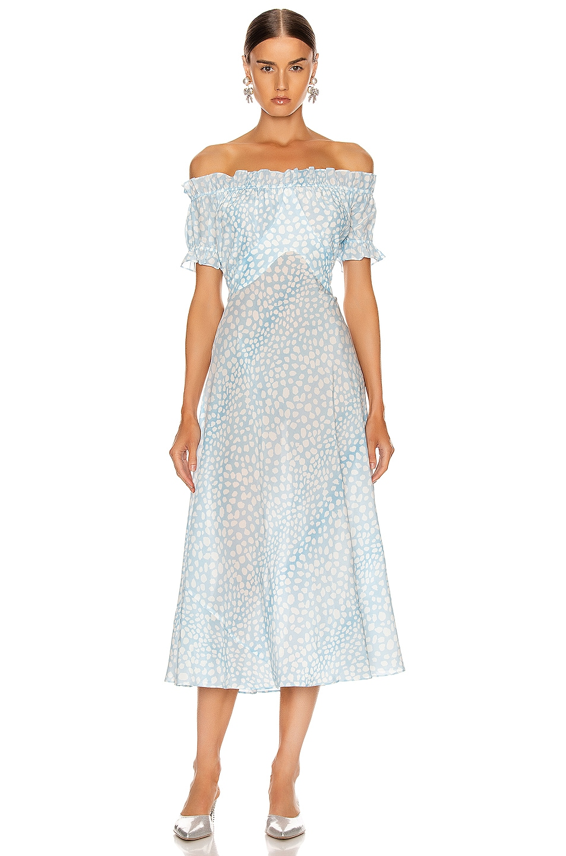 Image 1 of RIXO Bella Midi Dress in Blue Leopard