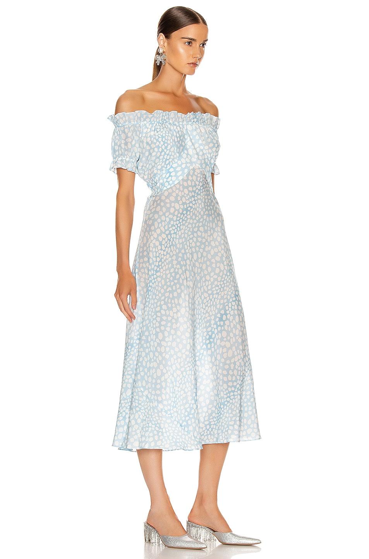 Image 2 of RIXO Bella Midi Dress in Blue Leopard