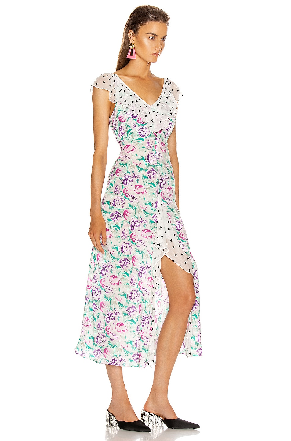Image 2 of RIXO Antoinette Maxi Dress in Polka Dot Italian Floral & Pink Teal
