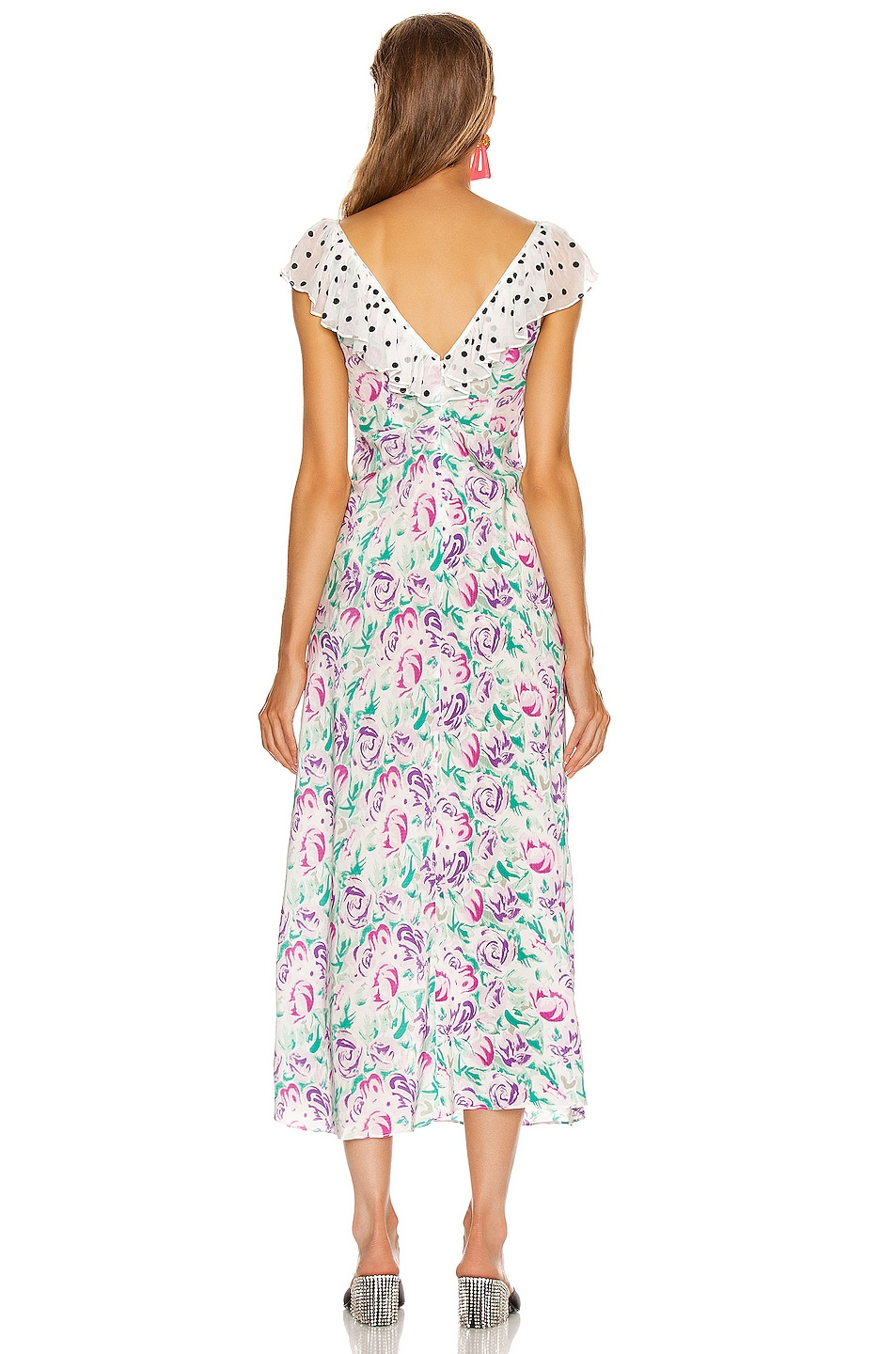 Image 3 of RIXO Antoinette Maxi Dress in Polka Dot Italian Floral & Pink Teal