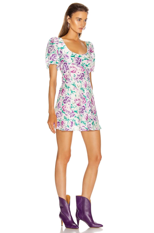 Image 2 of RIXO Morgan Mini Dress in Italian Floral & Pink Teal
