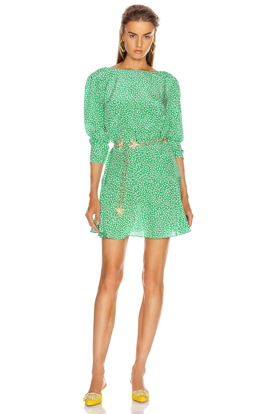 Image 1 of RIXO Kyla Mini Dress in Retro Micro Floral & Green Blue