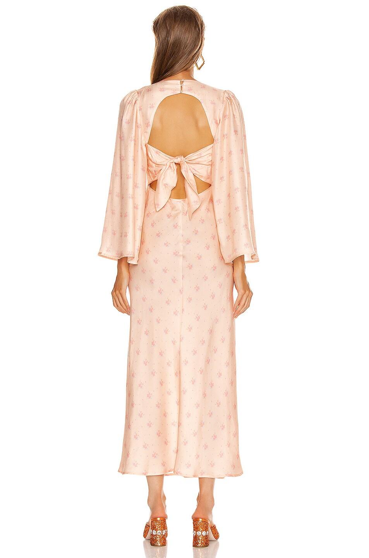 Image 3 of RIXO Nadia Midi Dress in Buttercup Peach & Cream