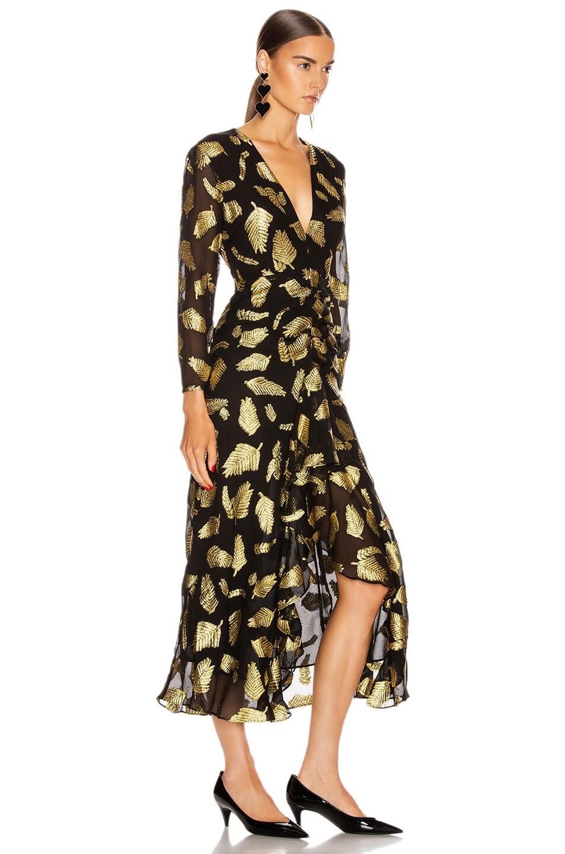 Image 2 of RIXO Rose Dress in Gold & Black