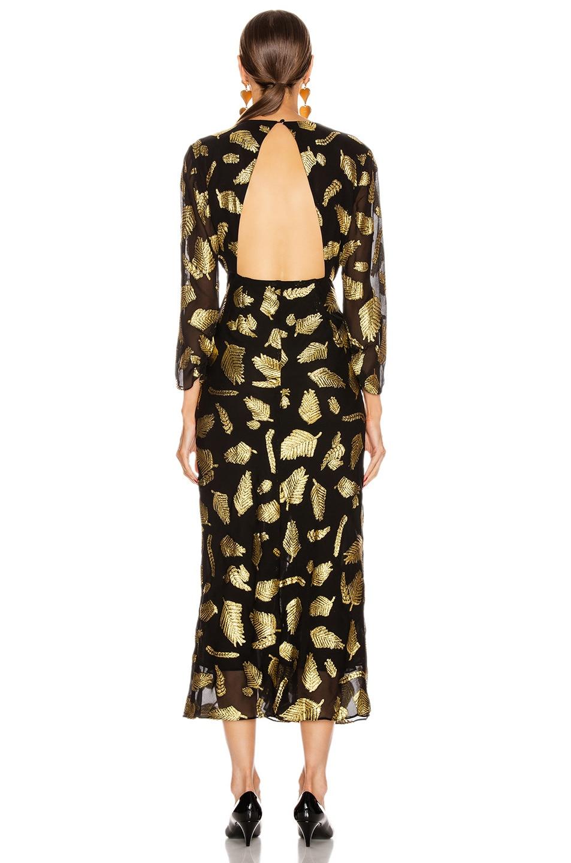 Image 3 of RIXO Rose Dress in Gold & Black